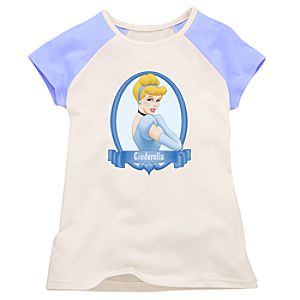 Light Blue and White Raglan Cinderella Tee for Girls