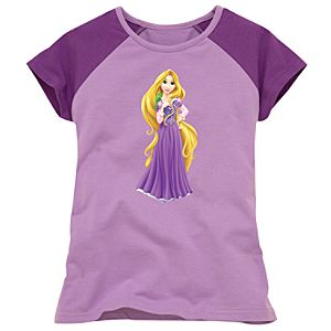 Purple and Lavender Raglan Rapunzel Tee for Girls