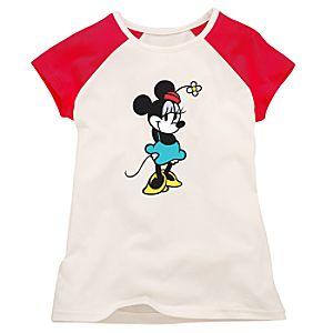 Red and White Raglan Minnie Mouse Tee for Girls