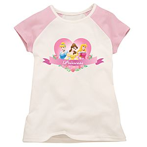 Pink and White Raglan Disney Princess Tee for Girls