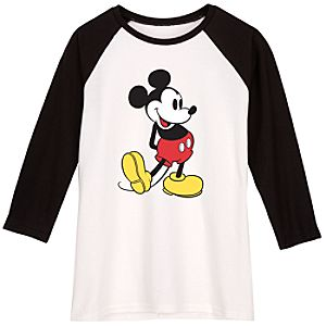 Black and White Long-Sleeved Raglan Mickey Mouse Tee