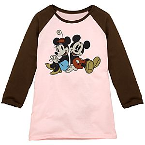 Brown and Pink Long-Sleeved Raglan Mickey and Minnie Tee