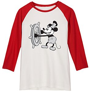 Red and White Long-Sleeved Raglan Mickey Mouse Tee