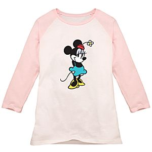 Pink and White Long-Sleeved Raglan Minnie Mouse Tee