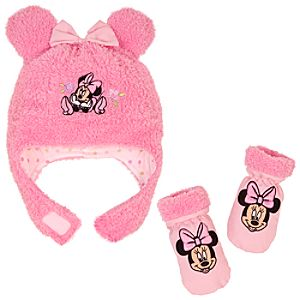 Plush Minnie Mouse Hat & Mitten Set for Baby Girls -- 2-Pc.