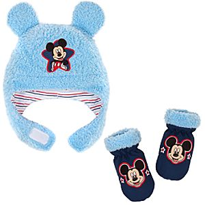 Plush Mickey Mouse Hat & Mitten Set for Baby Boys -- 2-Pc.