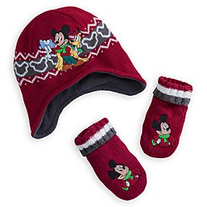 Mickey Mouse Knit Cap and Mittens Set for Baby - Holiday
