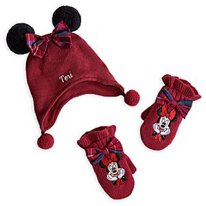 Minnie Mouse Hat and Mittens Set for Baby - Holiday - Personalizable