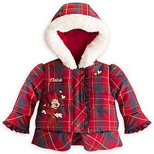 Minnie Mouse Holiday Puffy Coat for Baby - Personalizable