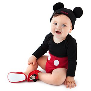 Personalizable Mickey Mouse Costume Bodysuit and Cap for Babies -- Made With Organic Cotton