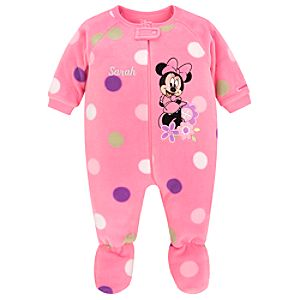 Personalizable Fleece Minnie Mouse Blanket Sleeper for Baby Girls