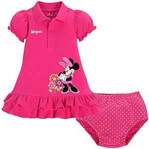 Personalizable Ruffled Minnie Mouse Dress for Baby Girls -- 2-Pc.