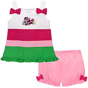 Hooped Minnie Mouse Dress Set for Baby Girls -- 2-Pc.