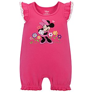 Floral Minnie Mouse Tiny Tee Coverall for Baby Girls