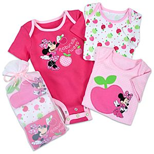 Minnie Mouse Disney Cuddly Bodysuit Set for Baby Girls -- 3-Pack