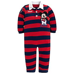Personalizable Little Champ Mickey Mouse Rugby Coverall for Baby Boy