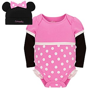 Personalizable Minnie Mouse Costume Bodysuit and Cap for Baby Girls
