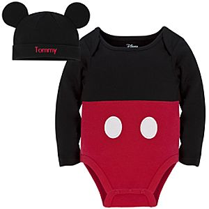 Personalizable Mickey Mouse Costume Bodysuit and Cap for Baby Boy