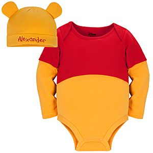 Personalizable Winnie the Pooh Costume Bodysuit and Cap for Baby Boys