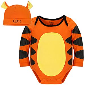 Personalizable Tigger Costume Bodysuit and Cap for Baby Boys