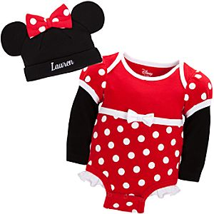 Personalizable Minnie Mouse Costume Disney Cuddly Bodysuit and Cap Set for Baby Girls
