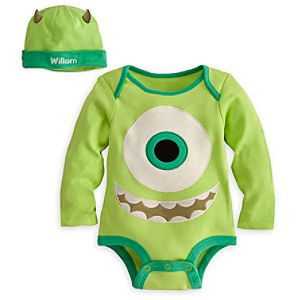 Mike Wazowski Disney Cuddly Bodysuit Set for Baby - Personalizable