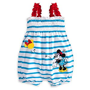Minnie Mouse Striped Romper for Baby