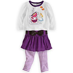 Alice in Wonderland Top and Skirt with Leggings Set for Baby