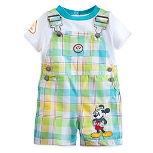 Mickey Mouse Plaid Dungaree Set for Baby