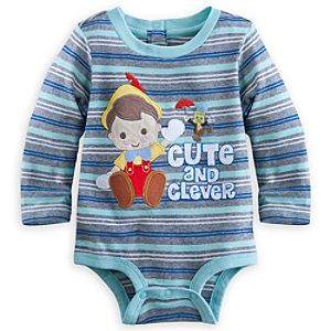 Pinocchio and Jiminy Cricket Long Sleeve Disney Cuddly Bodysuit for Baby