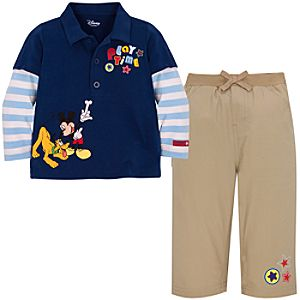 Pluto and Mickey Mouse Polo Set for Baby Boys --2-Pc. -- Made With Organic Cotton