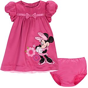 Bubble Sleeve Minnie Mouse Dress for Baby Girls -- 2-Pc.