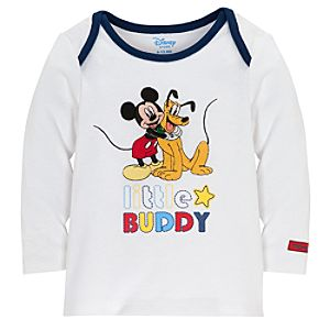 Long Sleeve Little Buddy Pluto and Mickey Mouse Tee for Babies