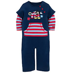 Long Sleeve Mickey Mouse Coverall for Baby Boys