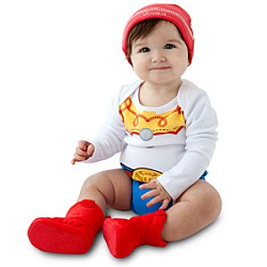 Personalizable Jessie Costume Bodysuit and Cap for Baby Girls -- Made With Organic Cotton