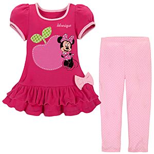 Personalizable Minnie Mouse Dress and Leggings Set for Baby Girls