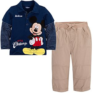 Personalizable Little Champ Mickey Mouse Shirt and Pants Set for Infant Boys -- 2-Pc.