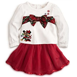 Mickey and Minnie Disney Cuddly Bodysuit and Skirt Set for Baby - Holiday