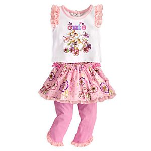Miss Bunny Top and Skirt with Leggings Set for Baby - Bambi