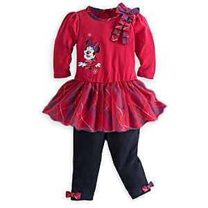 Minnie Mouse Holiday Dress and Leggings Set
