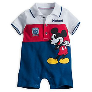 Mickey Mouse Polo Romper for Baby - Personalized