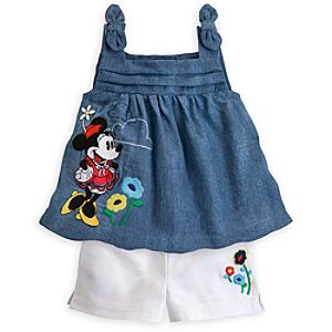 Minnie Mouse Chambray Shirt and Shorts Set for Baby