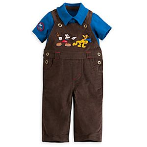 Mickey Mouse and Pluto Dungaree Set for Baby