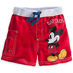 Mickey Mouse Swim Trunks for Baby - Red