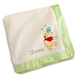 Winnie the Pooh Plush Blanket for Baby - Personalizable