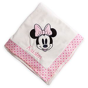 Minnie Mouse Plush Nursery Blanket - Personalizable