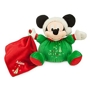 Santa Mickey Mouse My First Christmas Plush for Baby - Personalizable