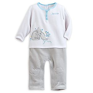 Dumbo Velour Romper for Baby - Personalizable - Blue