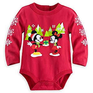 Mickey and Minnie Mouse Holiday Disney Cuddly Bodysuit for Baby