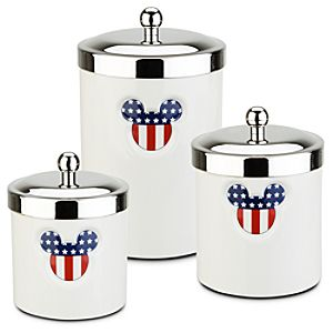 Red, White and Mickey Mouse Canisters -- 3-Pc. Set